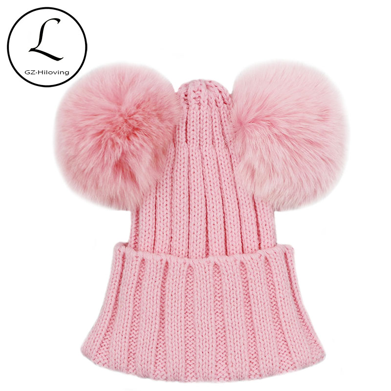 GZHILOVINGL Real Fox Fur Pompom Hat Kids Winter Caps Knitted Hats Two Pom Poms Skullies Beanies Bonnet Girls Boys Animal Ear Cap baby thick kids knitted hats for winter with 12cm real fox fur pom poms baby caps good quality cashmere boys girls beanie hats
