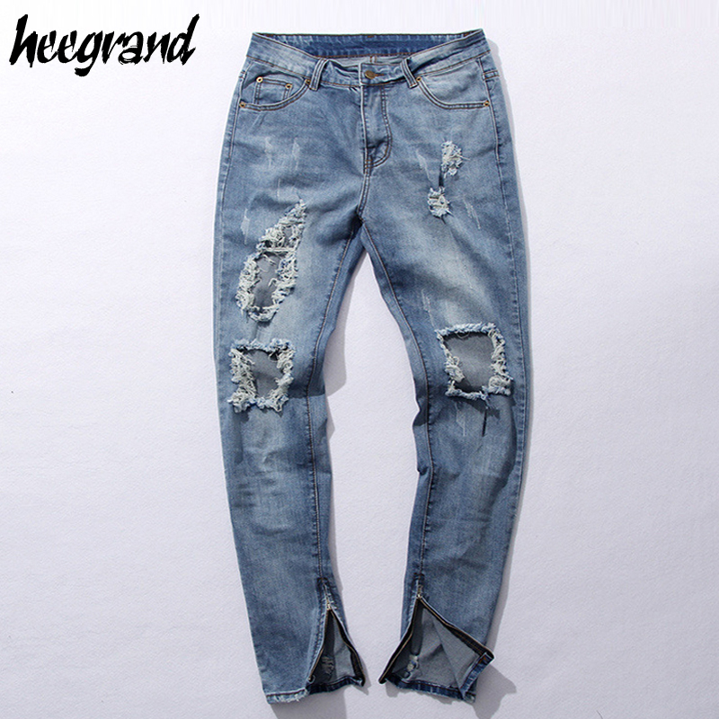 ФОТО HEE GRAND Men Fashion Jeans 2017 New Arrival  Men's Destroyed Hole Denim jean Male Street-wear Hip Hop Casual Pants MKN886