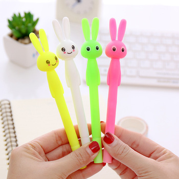 4 pcs/lot 0.38mm Cute Cartoon Rabbit Pens Creative Kawaii Plastic Erasable Gel Pen For Kids School Supplies Student