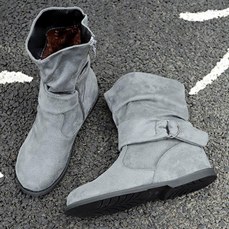 Botki damskie 2019 szare brązowe ciepłe buty na śnieg