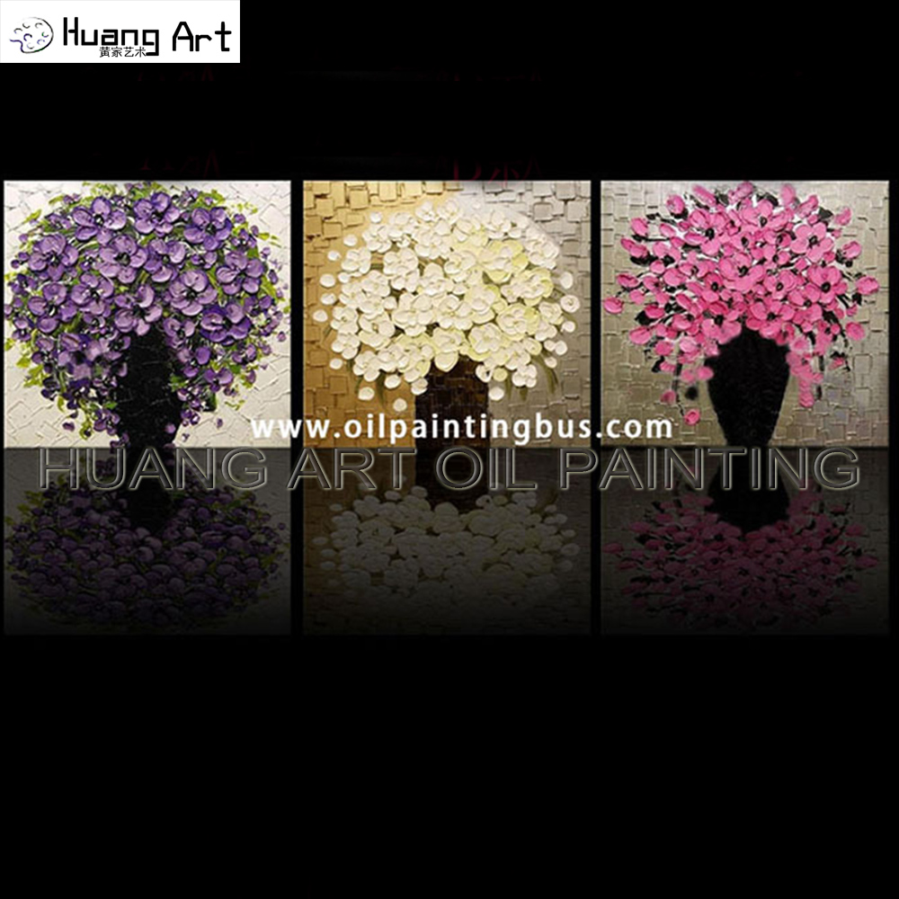 Us 65 79 49 offhand painted modern thickness flower wall art decor 3pcs paintings colorful knife flowers oil painting on canvas for home decor in