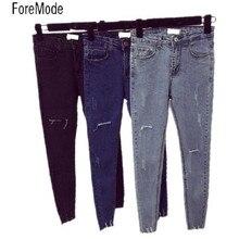 ForeMode High Waist Skinny Jeans Female Scratch Worn Feet Vintage Pencil Pants Women Jeans 2XL