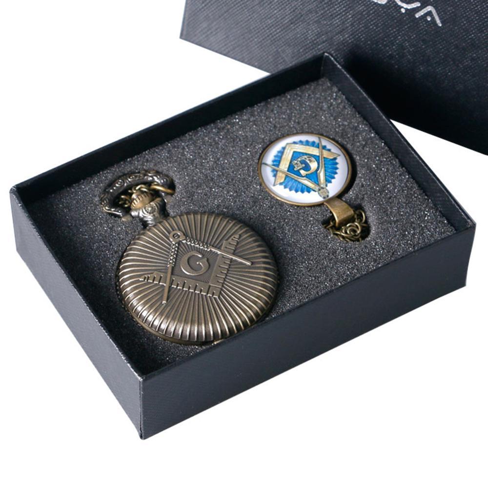 Freemasonry Masonic Design Antique Bronze Quartz Fob Clock Pendant Pocket Watch With Chain Necklace Xmas Gift Set