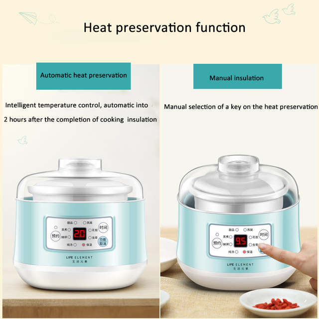 220V Multifunction Slow Cooker Electric Cooking Pot Ceramic Liner  Water Steam Stewing Soup Porridge Baby Food Cooking Machine 2