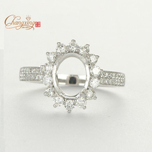 6x8mm Oval Cut Solid 14k White gold NATURAL 0.74ct Diamond Engagement Wedding Semi Mount Ring