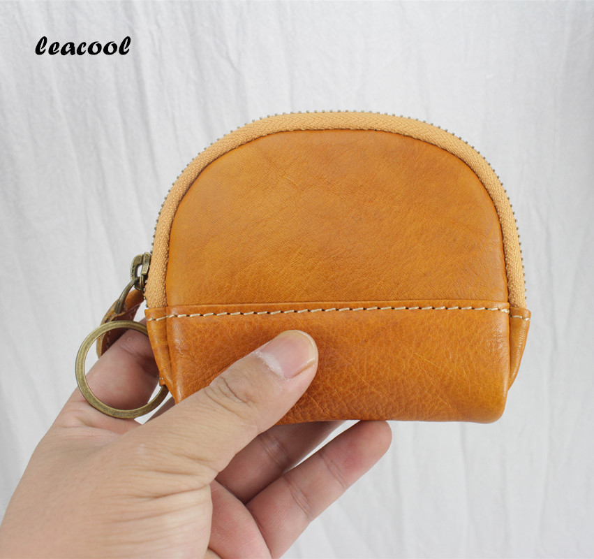 Womens Wallets Brand Genuine Leather Shell Design small Coin Purses Storage Bag Zipper Pocket Key Pouch Money bag Change Purse