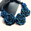 Women's Pretty Consume Short  Necklace Big Blue Rose Pendant False Collar Exquisite Female Banquet Accessory