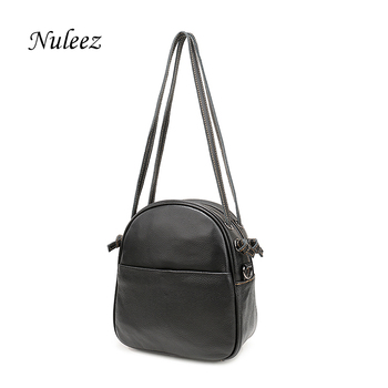 Nuleez real cowhide leather bag women simple sport bag with long and short straps China hand made wholesale promotion 1229