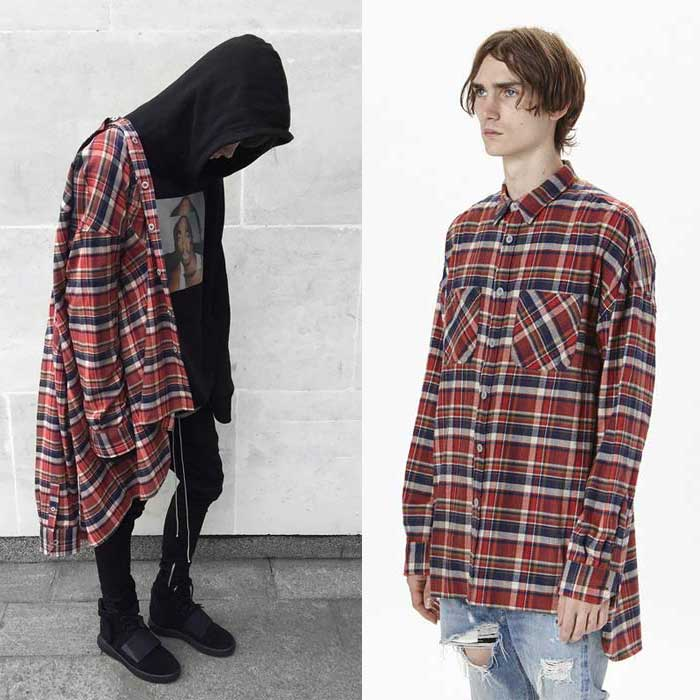 Fog mens red oversized flannel shirts famous brand high for How to wear men s flannel shirts