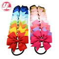 8cm Grosgrain Ribbon Hair Bow with Colorful Elastic Hair Bands Baby Girl HairBow head ring accessories Kids Hair rope