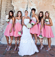 2014 New Arrival Under 100 A Line Chiffon Pink Bridesmaid Dresses Short With Beads And Sequins Brides Maid Dress 602
