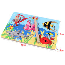 Wooden Magnetic Board Fishing Game Jigsaw Puzzle Clicking Blocks infant Children Rod toys Baby Board 3D Early Education fun kid(China)