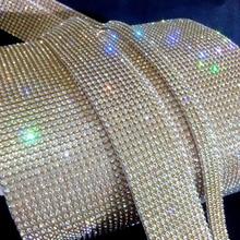 gold plating10 rows hot fix 3mm rhinestone trimming,rhinestone mesh banding with glue,10rows*1.2meters/pcs,3mm rhinestones