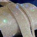 gold plating10 rows hot fix3mmrhinestone trimming,rhinestone mesh banding with glue,10rows*1.2meters/pcs,3mm rhinestones