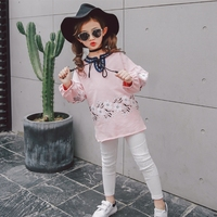 2017 Girls Fashion Casual Clothes Children Flower Tassel Sweet Princess Suit Lantern Long Sleeved Sweater Trousers