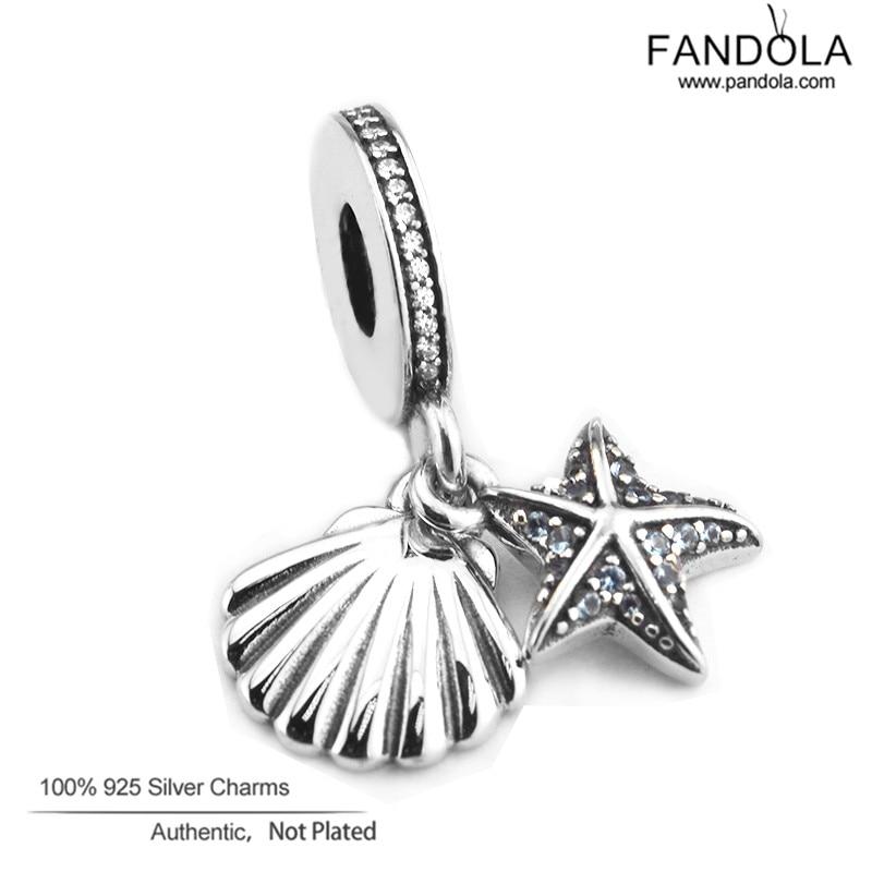 100% 925 Sterling Silver Tropical Starfish & Sea Shell Pärlor för Smycken Göra Passar Kvinnor Charms Silver 925 Original Armband