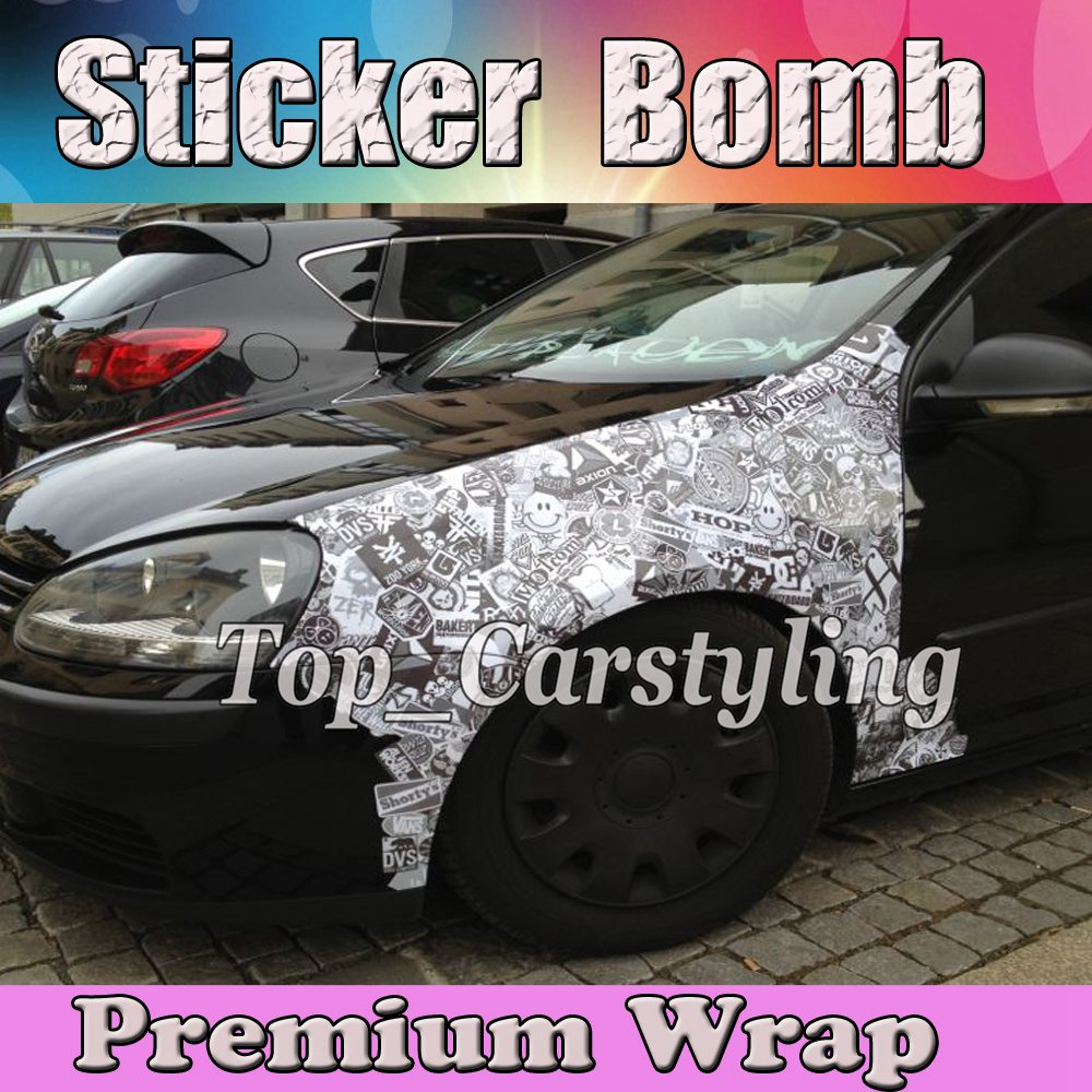 Black & White Stickerbomb Vinyl WRAP STICKER BOMB Film with Air Free Bubble For Vehicle Car Wrap Cover decals 1.52x20m/Roll цена