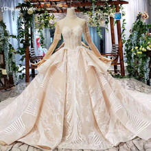 HTL608 2019 dubai luxury wedding dress long sleeve high neck illusion lace wedding gowns with train vestidos de novia vintage(China)