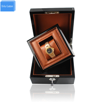 Luxury Business/Gift Wood Watch Box in Box with Key Wooden Pu Leather Inner Promotion Case Business Box for Brand Watches Custom