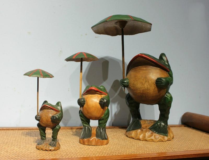 Gros thaïlande artisanat traditionnel en bois grenouille chanceux Art Figurines Miniatures décoratives décor de bureau à la maison - 3