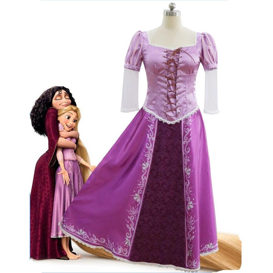 Women Girls Rapunzel Princess Cosplay Dress Purple Adult Tangled Costume Halloween Carvinal Ball Dress
