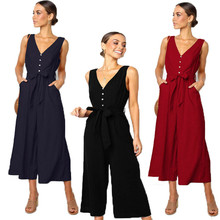 Women spaghetti strap wide legs Jumpsuit V-neck Romper Trousers  Party Summer Loose  Romper plus size plain loose wide legs jumpsuit