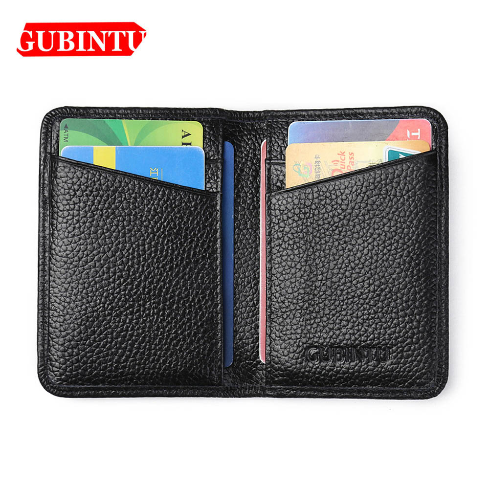 Mens Black Slim Thin Genuine Leather Classic Credit Card Holder Bifold Wallet