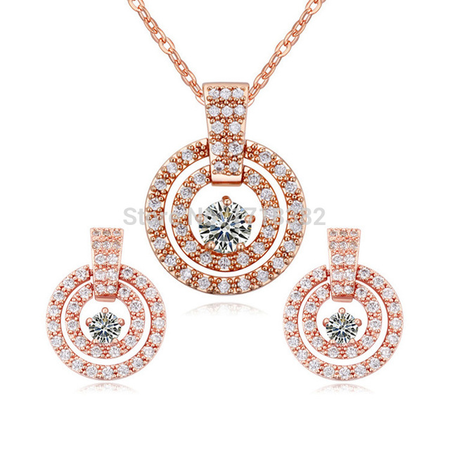 bd7cb4cb1 High Quality Three Color AAA Zircon Round Hollow Necklace and Earring  Jewelry Set Women Gift Crystals From Swarovski