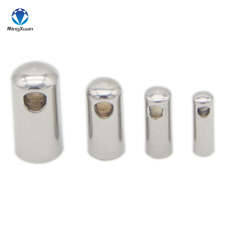 MINGXUAN 50pcs/lot 1/2/3/4/5/6mm Round Stainless Steel Crimp Clasps Cord End Caps For Jewelry For Leather Cord Jewelry Findings