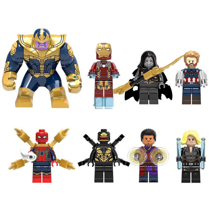 8pcs Thanos Infinity War Figure Set Iron Man Super Hero Avengers Corvus Glaive Outrider Spider Man Building Blocks Toys the sky is falling – understanding