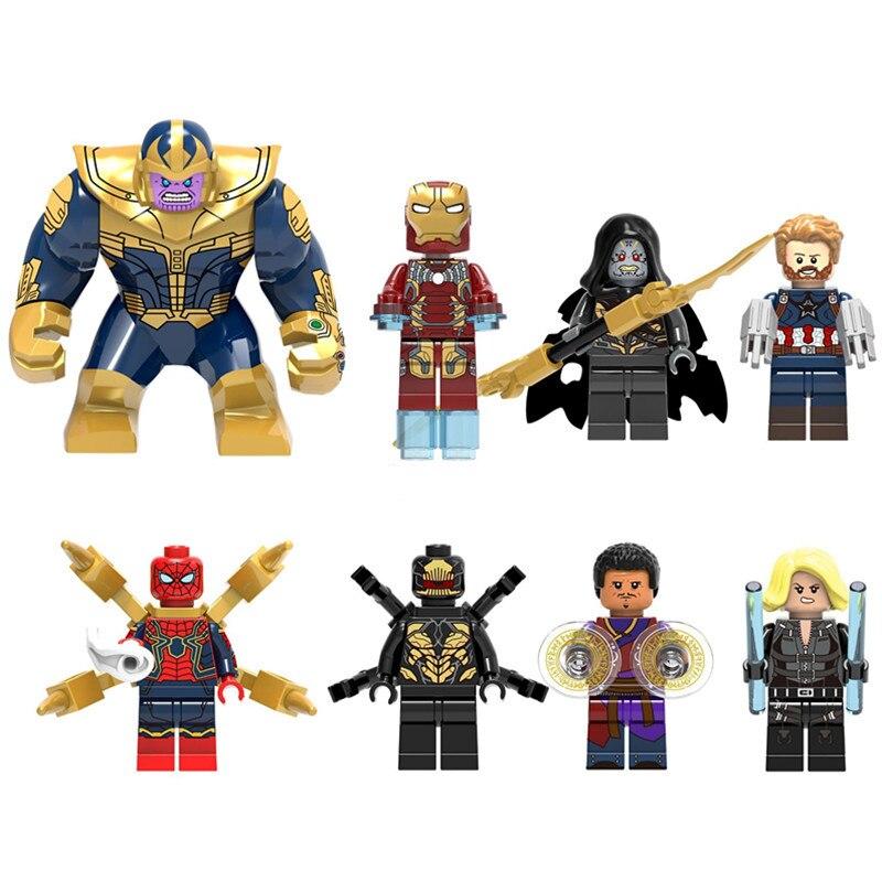 8pcs Thanos Infinity War Figure Set Iron Man Super Hero Avengers Corvus Glaive Outrider Spider Man Building Blocks Toys