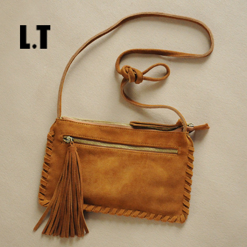 2017 Genuine Leather Flap Bag Fringed Tassel Retro Hippie Gypsy Boho Chic Tribal Bohemian Folk Small Square Brown Shoulder