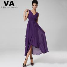 Women Sexy Purple Dresses Chiffon V Neck Split A Line Dress Woman Summer Casual New Arrival Slim Elegant Vestido Longo W00524