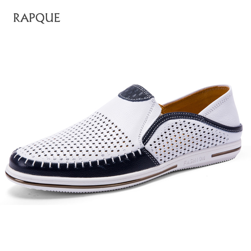 Flats Summers Casual Shoes Men Genuine Leather Loafers Men High Quality Breathable Shoes Male Mesh Footwear White Blue 38-44(China)