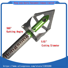 New 6Pcs Hunting Broadheads 360Cutting Angle 0.83Cutting Diameter Arrow Head 100GR Green Arrowheads