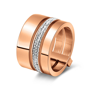 Multilayer Split Shank Steel Women's Band Ring Jewelry Rings Women Jewelry Ring Size: 8 Main Stone Color: Rose Gold Color