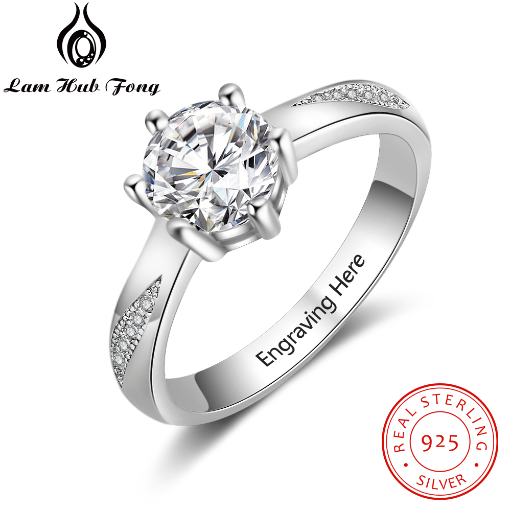 Personalized 925 Sterling Silver Name Ring Wedding Engagement Ring Cubic Zirconia Clear CZ  Ring Anniversary Gift (Lam Hub Fong)
