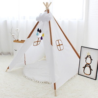Four Poles Kids Play Tent Solid Color Children Teepee Oxford Cloth Tipi For Baby Room