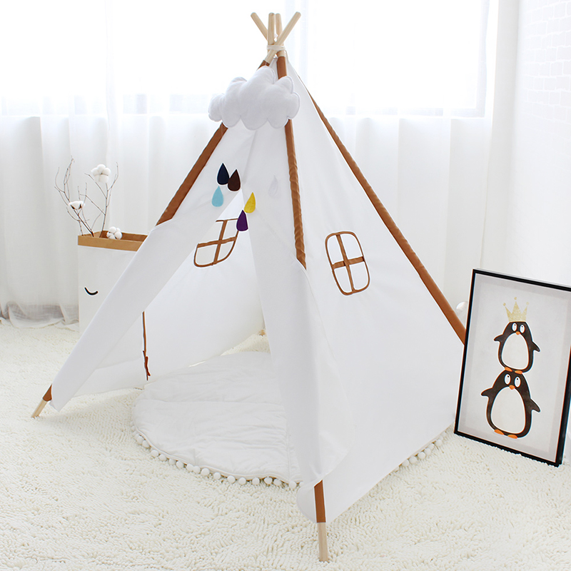 Four Poles Play Tent For Kids Solid Color Children Teepee Oxford Cloth Tipi For Baby Room Playhouse cloth wooden poles kids teepee tent childrens playhouse tent tipi kids