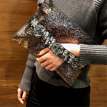 Women Bags Crystal Floral Handbags Retro Luxury Evening Envelope Bag Black Red Wedding Bride Ladies Crossbody Shoulder Bags