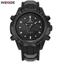Original Top Marca de Moda WEIDE Homem Negro Relógios Ao Ar Livre Relógio Do Esporte Digital de Relógio de Quartzo Dos Homens da Faixa de Borracha relógio de Pulso Militar|  -