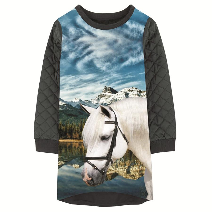 Girls Dresses Animal Horse Nice Print Children Winter