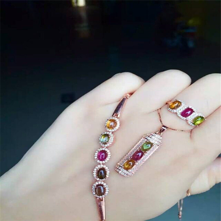 Natural tourmaline set inlaid jewelry wholesale S925 Sterling Silver Bracelet + Ring + Pendant Necklace wholesale wholesale natural powder tourmaline suite 925 inlaid sterling silver pendant ring jewelry two pieces