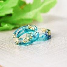 Handmade Resin Rings Blue & Green Ink Painted Scenery