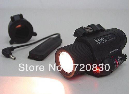 M6X Xenon tactical Flashlight torch & Red Laser w/ IR Infrared Filter Black