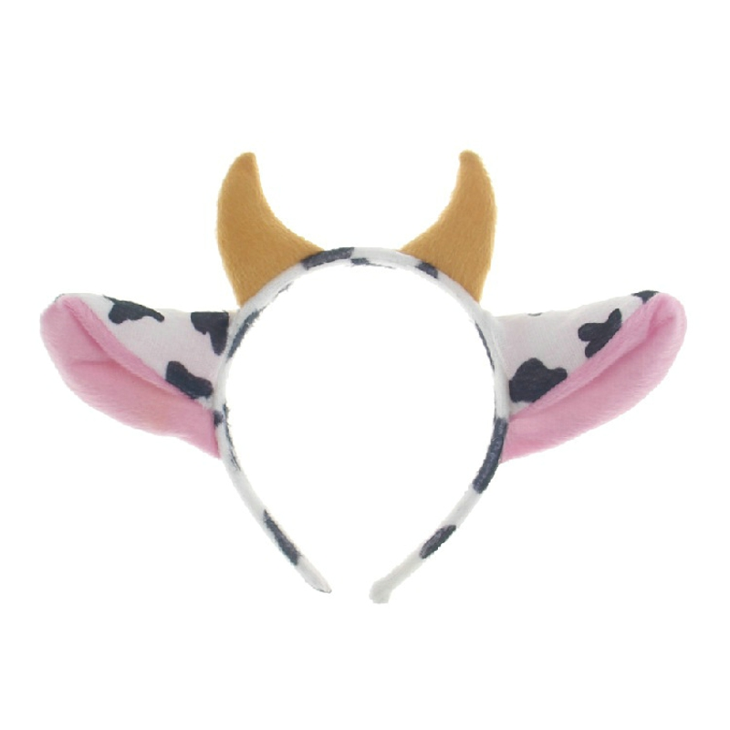 Animal Cartoon Cow Cosplay Headband Bow Tie Tail Paws 4 Sets Easter Festival Children Hair Accessories Fascinator Headdress