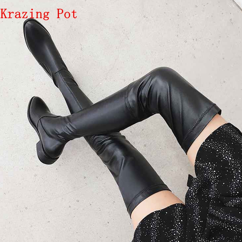 Krazing Pot 2019 Genuine Leather Round Toe Stretch Over-the-knee Boots Thick Heels Superstar Wear Thin Leg Thigh High Boots L3f1