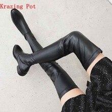 Krazing Pot – bottes en cuir 2020 véritable à bout rond, extensibles, talons épais, superstar, jambes fines, cuissardes hautes, L3f1