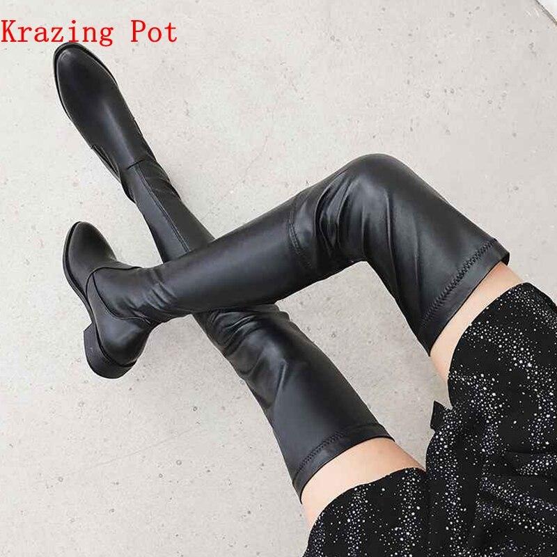 Krazing Topf 2019 echtem leder runde kappe stretch über die knie stiefel dicke heels superstar tragen dünne bein oberschenkel hohe stiefel L3f1-in Überknie-Stiefel aus Schuhe bei  Gruppe 1