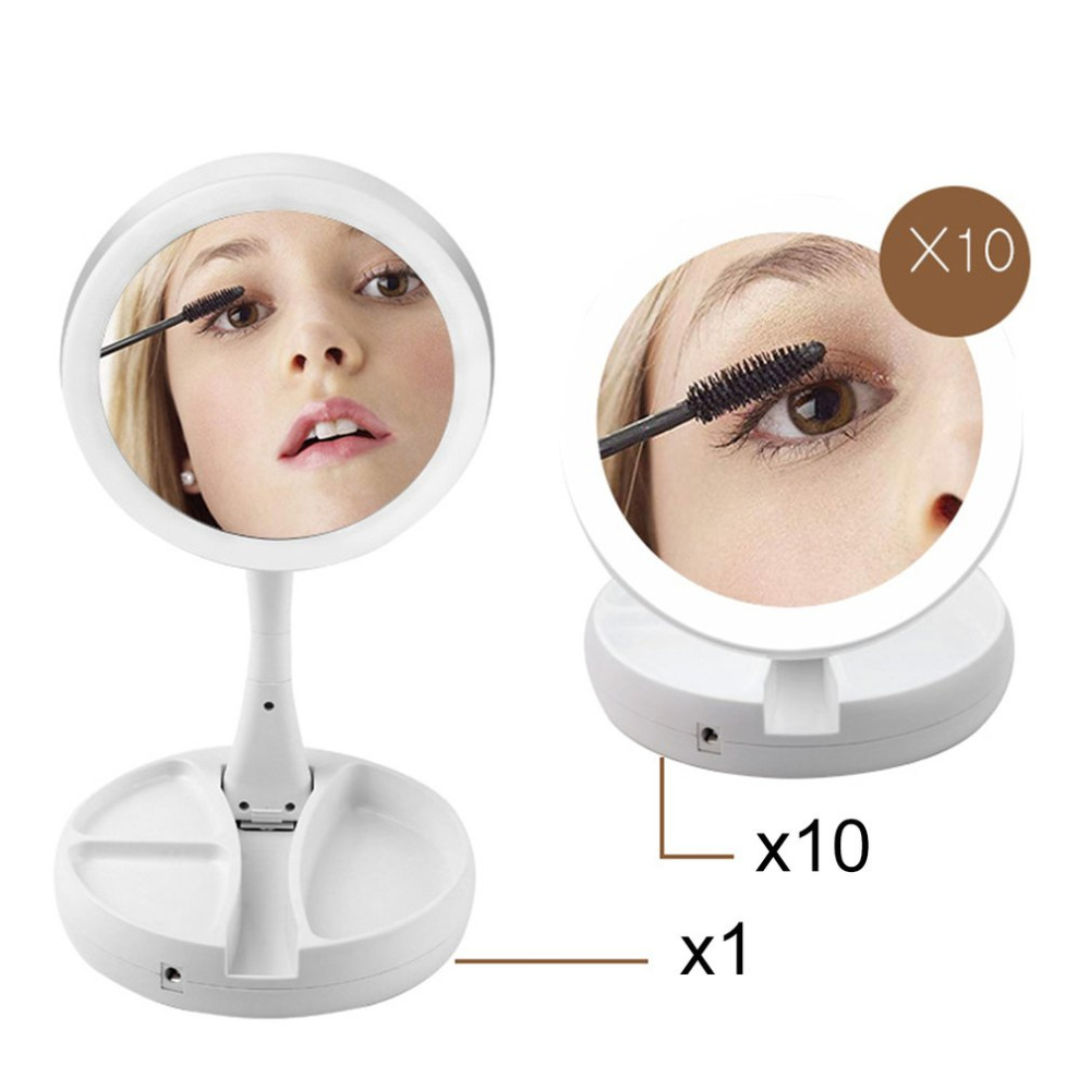 Small Size Double Sided LED Facial Makeup Mirror Portable Multi-angle Rotation Desktop Cosmetic Tool Lady Beauty Light Mirror